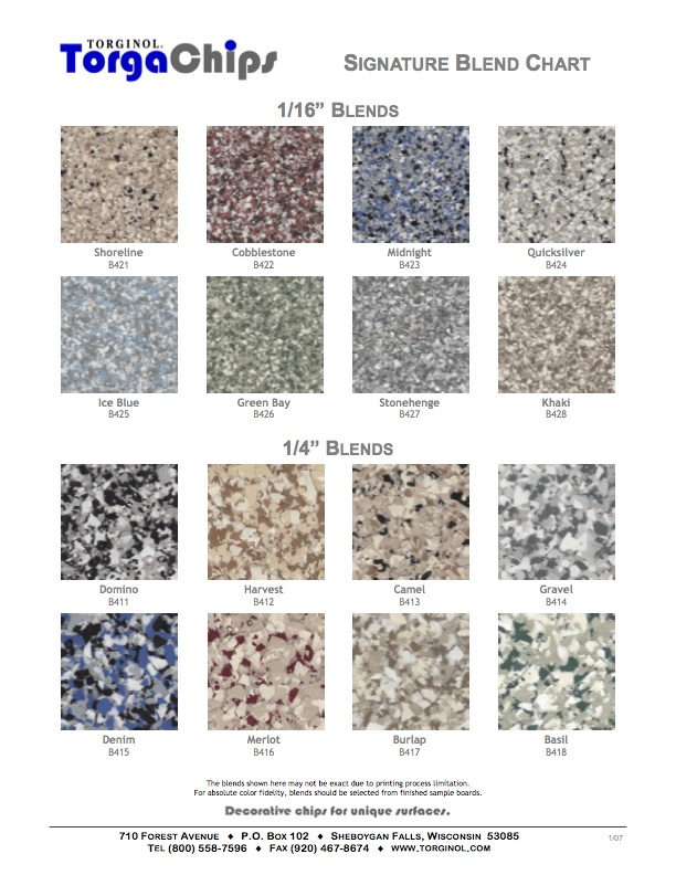 Vinyl Chip Epoxy Colors Decorative Concrete Of