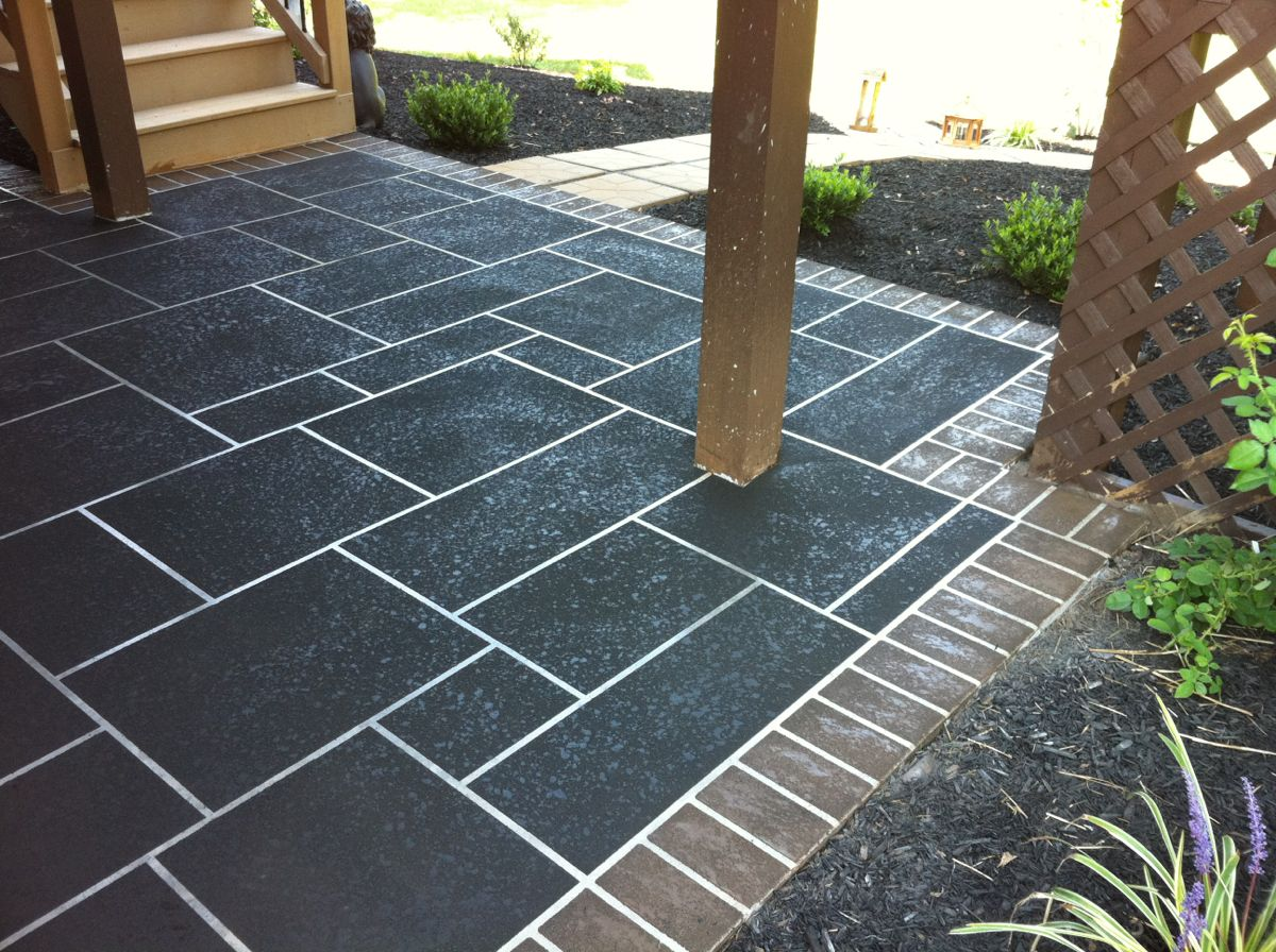Concrete Restoration: Custom Slate Patterns on Large Patios